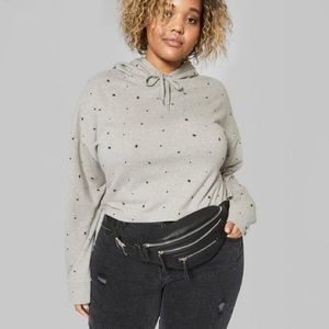 Wild Fable Star Print Gray Cropped Hoodie XL